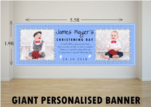 Personalised GIANT Large Boys Christening Baptism Poster Banner N8